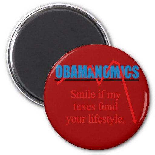 Obamanomics - sonrisa si mis impuestos financian s imán redondo 5 cm