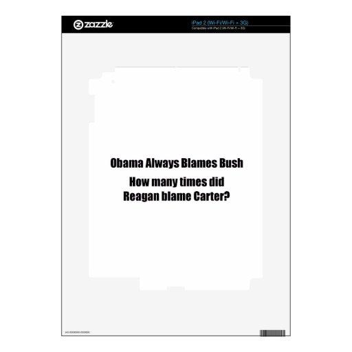 ObamaNoReagan iPad 2 Calcomanía