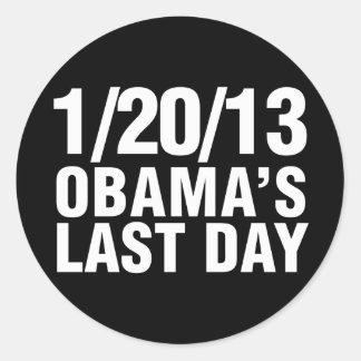 Obamas el día pasado 1/20/13 etiqueta redonda
