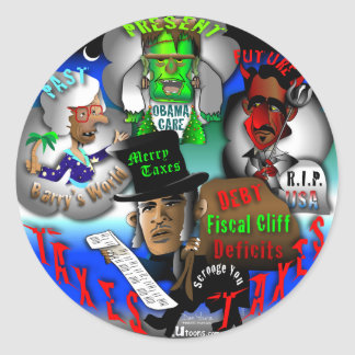 Obama's Ghosts of Christmas Classic Round Sticker
