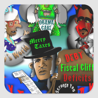 Obama's Ghosts of Christmas Square Sticker