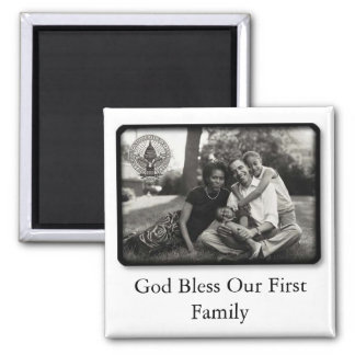 Obamas ~ God Bless Our First Family 2 Inch Square Magnet