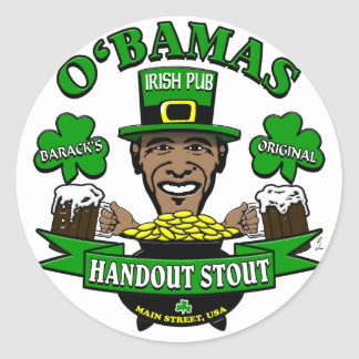 Obama's Irish Pub 4 Your Next Social Party! Classic Round Sticker