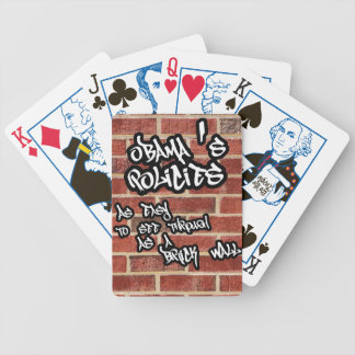 Obama's policies clear as a brick wall bicycle playing cards