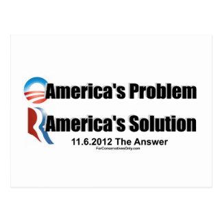 Obama's the Problem-Romney's the Solution Postcard
