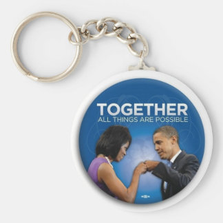 Obamas togetherness basic round button keychain