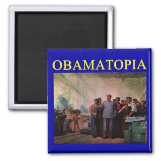 OBAMATOPIA anti obama design 2 Inch Square Magnet