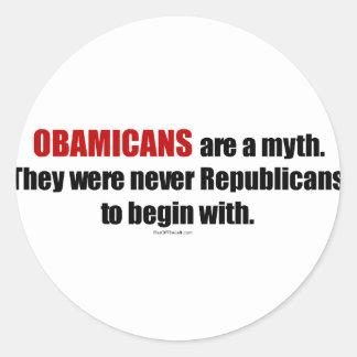 Obamicans es un mito ellos nunca era republicanos etiquetas redondas