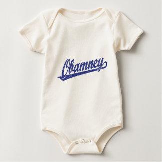 Obamney blue script logo baby creeper