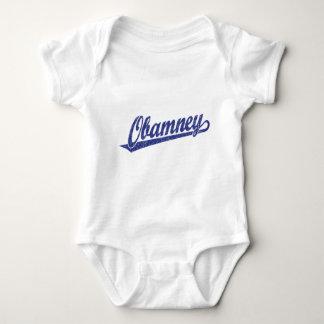 Obamney blue script logo shirts