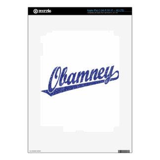 Obamney blue script logo skin for iPad 3