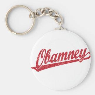 Obamney red script logo keychain