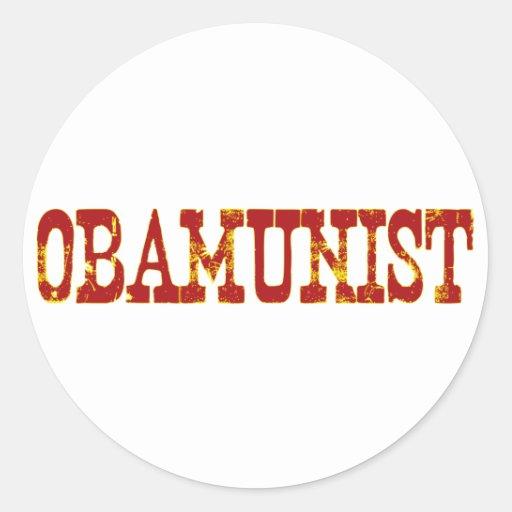 Obamunist (socialismo) pegatina redonda
