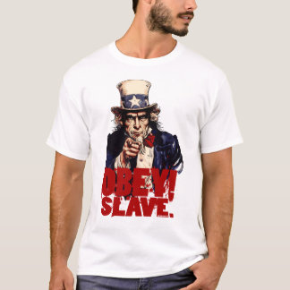 ¡Obedezca! Ahorre. Camiseta sucia del tío Sam
