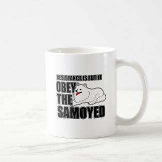 Obedezca al samoyedo taza básica blanca