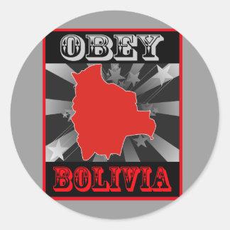 Obedezca Bolivia Etiqueta Redonda
