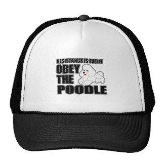 Obedezca el caniche gorras de camionero