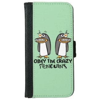 Obedezca el diseño gráfico de los pingüinos locos funda cartera para iPhone 6