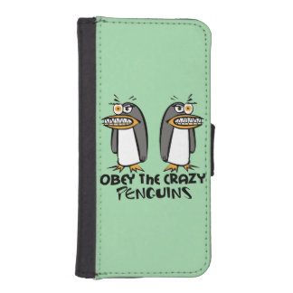 Obedezca el diseño gráfico de los pingüinos locos fundas billetera para teléfono