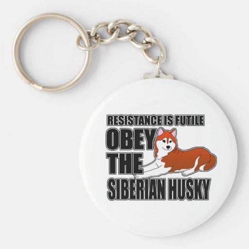 Obedezca el husky siberiano llaveros personalizados