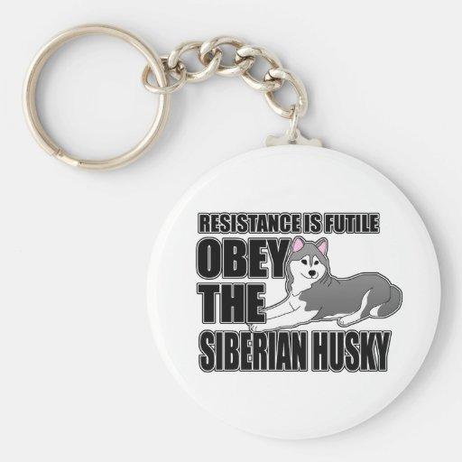 Obedezca el husky siberiano llaveros