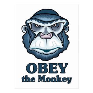 Obedezca el mono postales