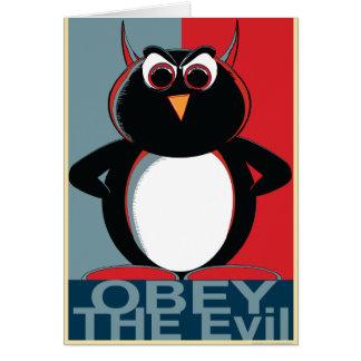 OBEDEZCA el Penguin™ malvado Tarjeta