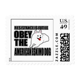 Obedezca el perro esquimal americano timbre postal