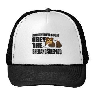 Obedezca el perro pastor de Shetland Gorras