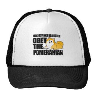 Obedezca el Pomeranian Gorro De Camionero