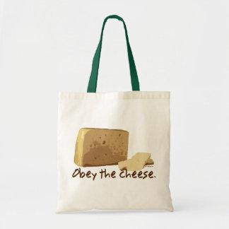 Obedezca el queso bolsa tela barata
