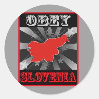 Obedezca Eslovenia Pegatina Redonda