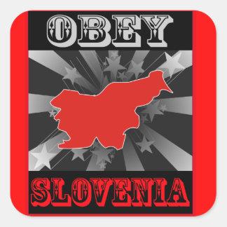 Obedezca Eslovenia Pegatina Cuadrada