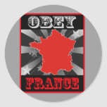 Obedezca Francia Pegatinas Redondas