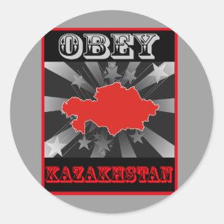 Obedezca Kazajistán Pegatina Redonda