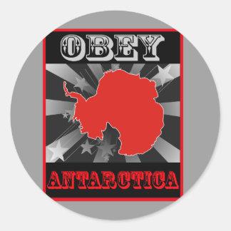 Obedezca la Antártida Pegatina Redonda