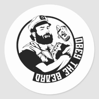 Obedezca la barba pegatinas redondas