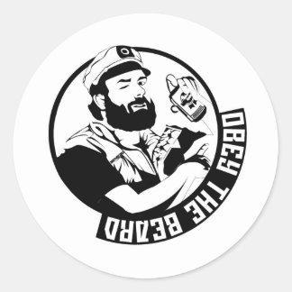 Obedezca la barba pegatina redonda