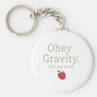 ¡obedezca la gravedad que es la ley! llavero redondo tipo pin