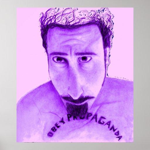 Obedezca la púrpura y el rojo de la propaganda póster