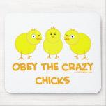 Obedezca los polluelos locos tapete de ratón