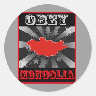 Obedezca Mongolia Pegatina Redonda