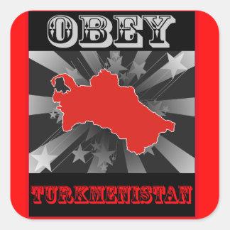 Obedezca Turkmenistán Pegatinas Cuadradas