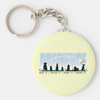 Obedience: Heel it, Fetch It, Jump It, Scent It Basic Round Button Keychain
