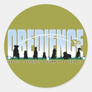 Obedience: Heel it, Fetch It, Jump It, Scent It Classic Round Sticker