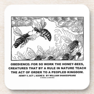 Obedience Work Honey-Bees Henry V Shakespeare Drink Coasters