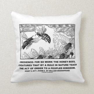 Obedience Work Honey-Bees Henry V Shakespeare Throw Pillow