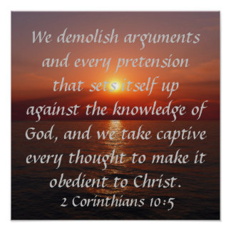 obedient to Christ bible verse sunset Poster