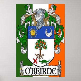 O'Beirne Coat of Arms Irish Flag Print