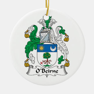O'Beirne Family Crest Ceramic Ornament